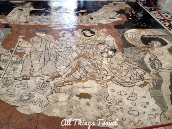 Marble floor mosaic in cathedral