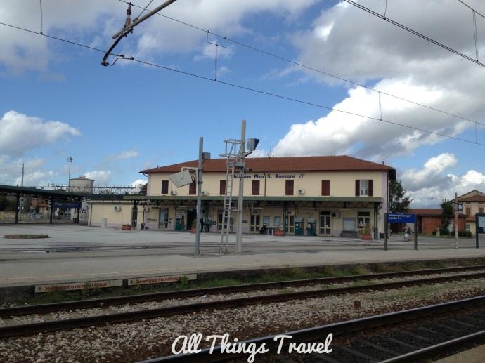Pisa Train Station across the tracks