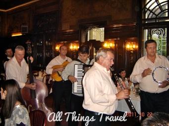 Musicians playing Serbian music at Dva Jelena (2 Deer) Restaurant