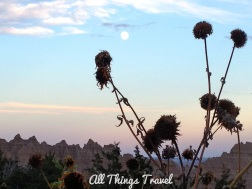 Sunset in the Badlands with the moon rising