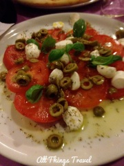 Caprese with olives at a pizzeria in Vernazza