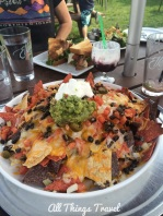 Nachos at Elkin's Resort with the remains of a Huckleberry Daiquiri in the background