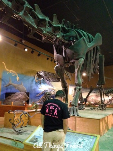 Jim and a portion of Jimbo, the Supersaurus, at Wyoming Dinosaur Center