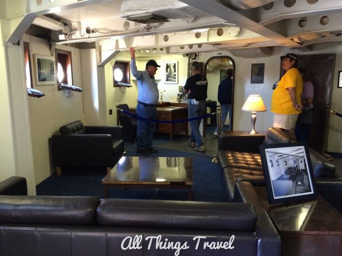 Volunteer aboard the Iowa Battleship