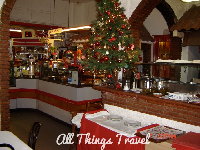 Christmas decorations in trattoria in Ostia Antica