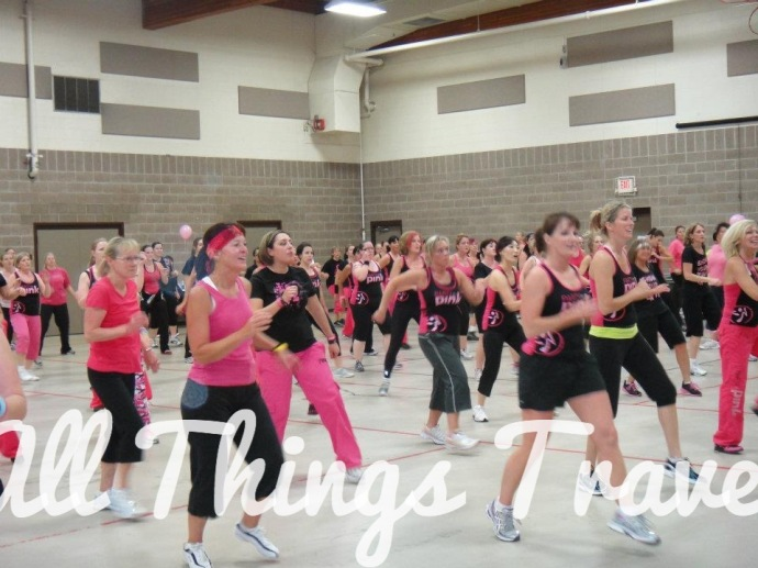 Yes, that's me in the headband at a Zumba Pretty in Pink fundraiser against breast cancer