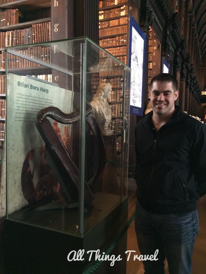 Son Brian with the Brian Boru Harp