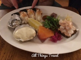 Taste of the Sea: chilled platter of fresh crab, oysters, salmon, prawns, and smoked salmon