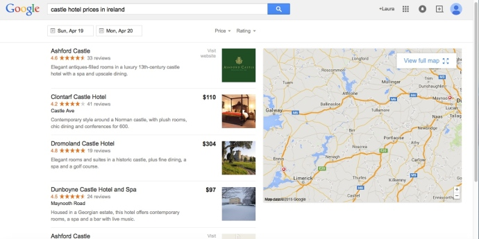 Screenshot from search for castle hotel prices