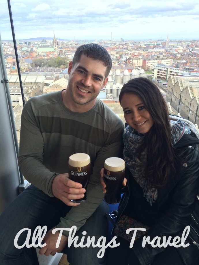 Brian and Abi tasting a pint in the Gravity Bar at the top of the Guinness Storehouse