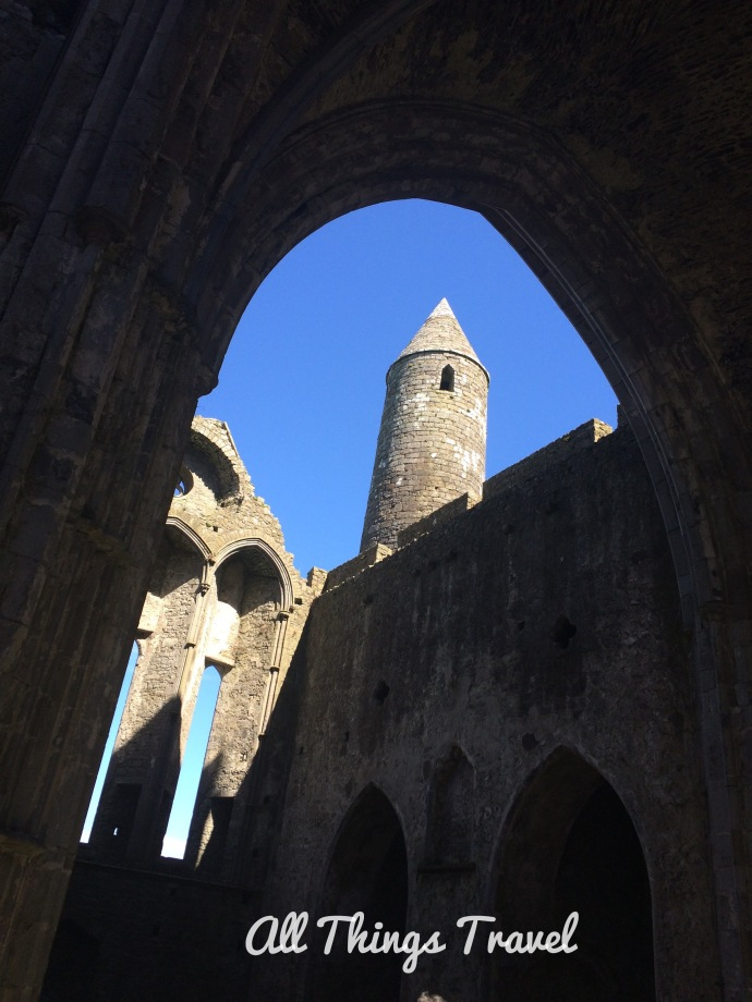 Round Tower seen from inside the Cathedral at Rock of Cashel