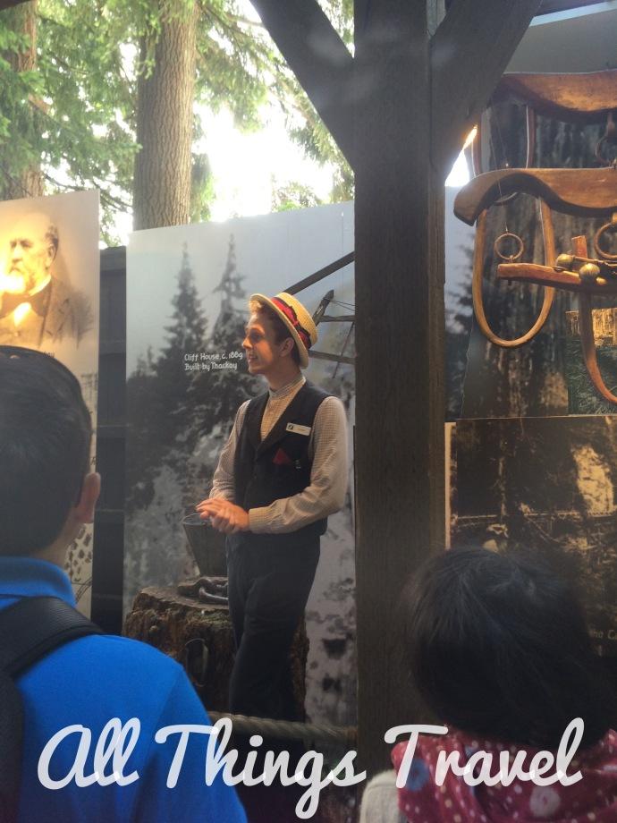 Storyteller sharing the history of the bridge