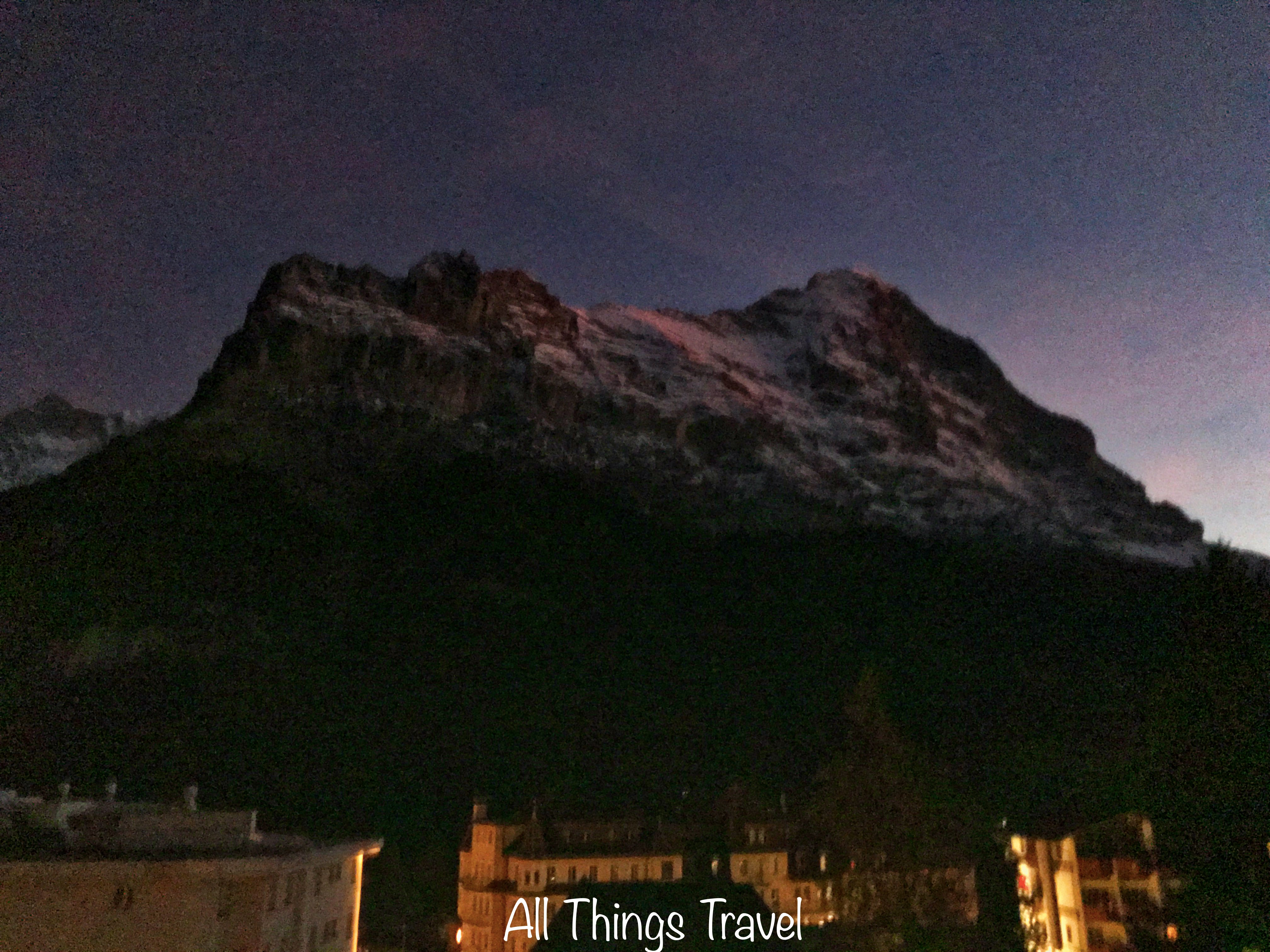 Twilight view of the Eiger from our balcony & Eiger | All Things Travel